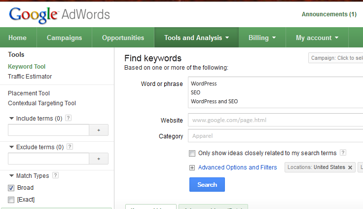 WordPress SEO Settings Google Adwords keyword tool