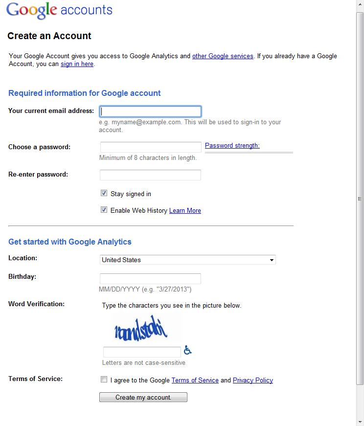 Setting Up Google Analytics 2 create Google account