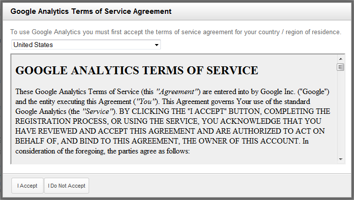 Setting Up Google Analytics 5 Google EULA